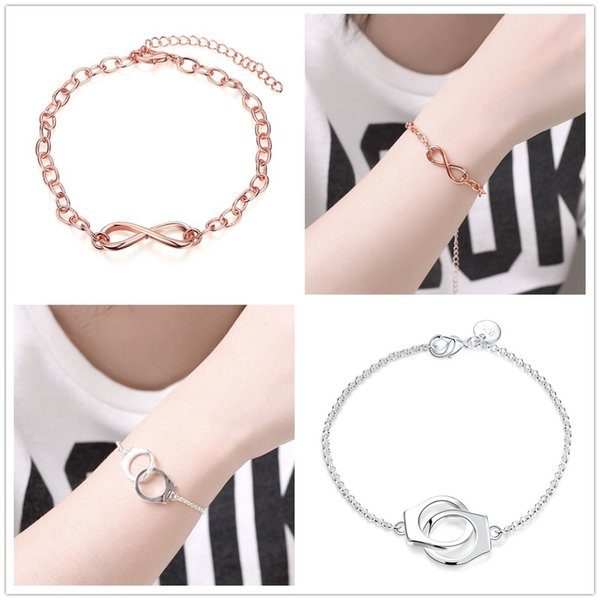 18K Rose Gold/Silver Plated Letter Number Charms Chain Bracelet 8 / Buckle Charm Bracelets Fit O Chain For Women