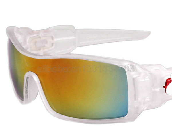 Wholesale-FASHIONABLE NEW TRANSPARENT FRAME YELLOW LENS MEN'S OIL RIG SUNGLASSES SPORT SUNGLASS CLASSIC SUN GLASSES .