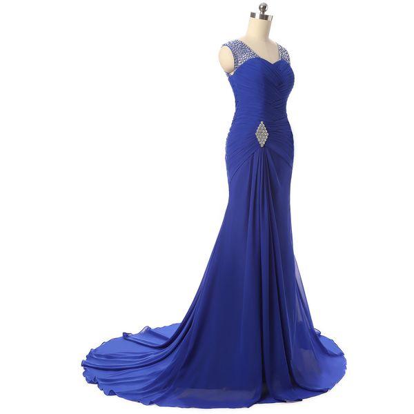 Großhandel New Royal Blue Mermaid Lange Abendkleider Für Frauen ...