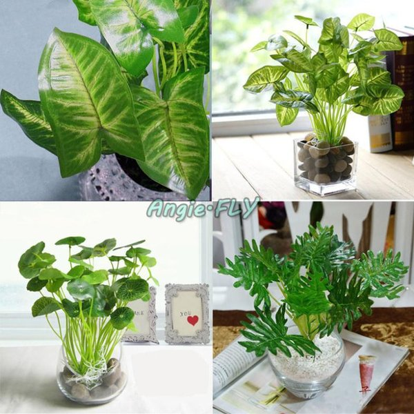 Artificial Lifelike Green Leaves Potted Plant Flowers Diy Home Office Wedding Hall Room Decoration