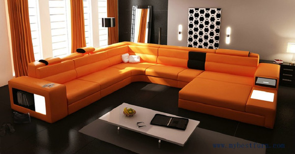 2019 Hot Sale Modern Orange Sofa Set Large Size U Shaped Villa Couches Real  Leather Sofa With Cabinet Bookself Home Furniture Sofas From Zz799956998,  ...