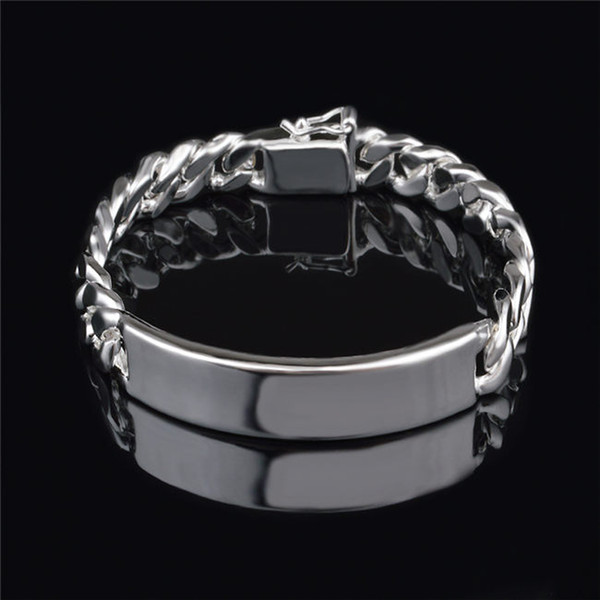 top popular Fashion Men's Jewelry 11MM 925 Sterling silver plated Figaro chain bracelet Top quality free shipping 2019