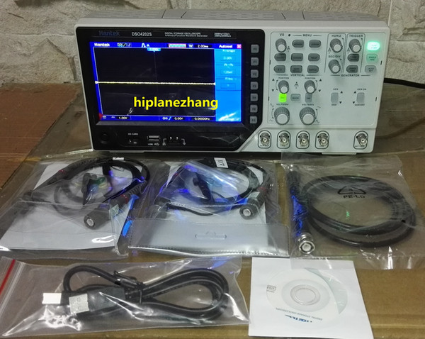 2 canali 200MHz 1GS / s Funzione oscilloscopio forme d'onda arbitrarie Signal Generator 25MHz 200MS / s 7 Pollici TFT LCD DSO4202S 2in1 800x480 USB