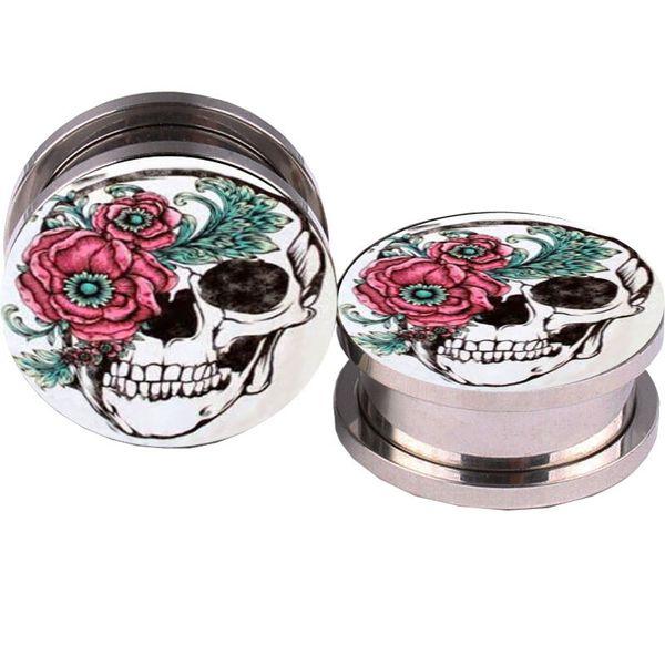 top popular Rose And Sugar Skull Logo Ear Plugs 5-16mm Plug Tunnel Summer Jewelry Earrings Plugs And Tunnels Ear Gauges Piercings 2021