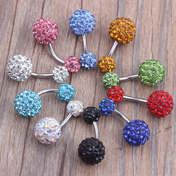 belly ring 30pcs/lot mix 6 colors shamballa ball crystal piercing jewelry navel ring