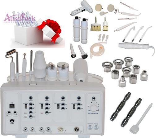 7 en 1 Digital Diamond Microdermabrasion Haute Fréquence Galvanique Courant Facial Machine Peau Spa Salon équipement Rotary Brush Spray Diffuseur