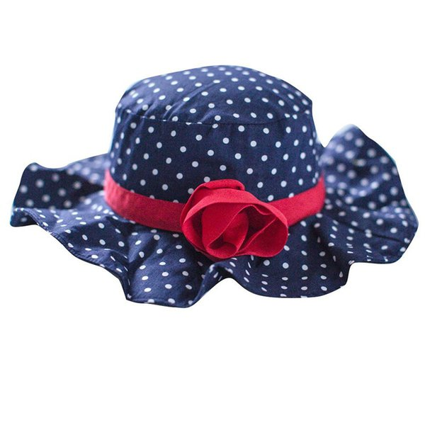 951d4976ac1 Wholesale Sweet Rose Dots Soft Breathable Cotton Sun Hat Summer Beach Hat  with Big Fold-