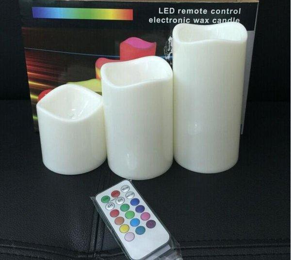 Velas sin llama de DHL Velas con pilas Pilar de cera real Velas LED con control remoto de 18 teclas 7 colores cambiados