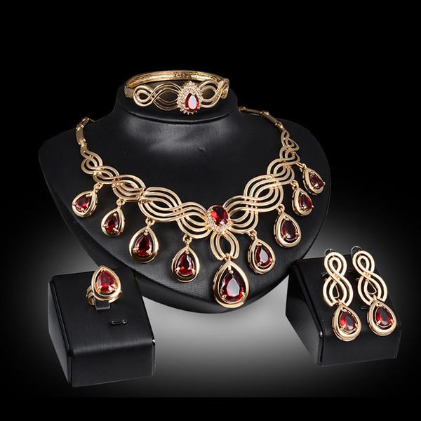 Trendy 18 K Altın Kaplama Düğün Mücevher Zirkon Boncuk Kolye Bilezik Yüzük Küpe Kadınlar Partisi Takı Setleri 3 Renkler