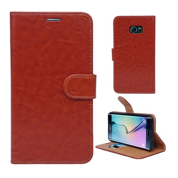 New Arrival Luxury PU Leather Wallet Flip Holder Stand Cover With Card Slot Cell Phone Case For Samsung Galaxy S6 Edge
