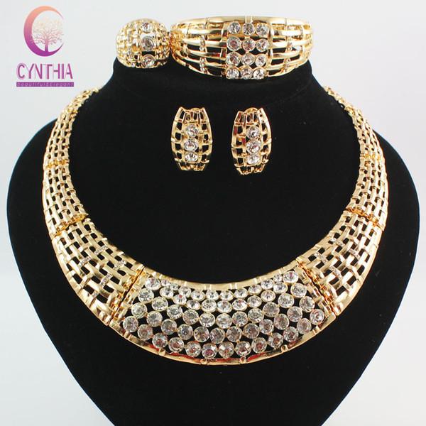Mode Africaine Costume Parures de bijoux 18k Plaqué Or Cristal Chunky Collier Bracelet Boucles D'oreilles Anneau Femmes Cadeau De Noce Ensemble De Cadeaux