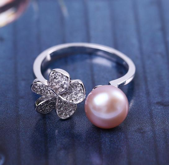 Hot sale new Petal-shaped 8-9mm natural pearl ring opening silver s925