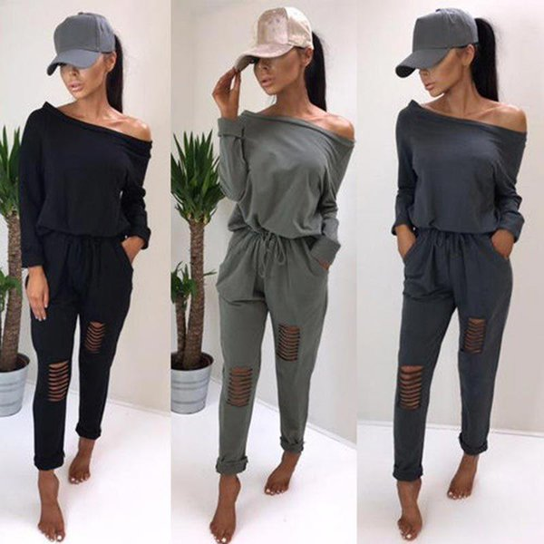 best selling Women Tracksuit Sweatsuit Long Sleeve Jumpsuits Stretchy Overall Off Shoulder Broken Hole Casual Bodysuits Rompers 2 piece Women Clothing