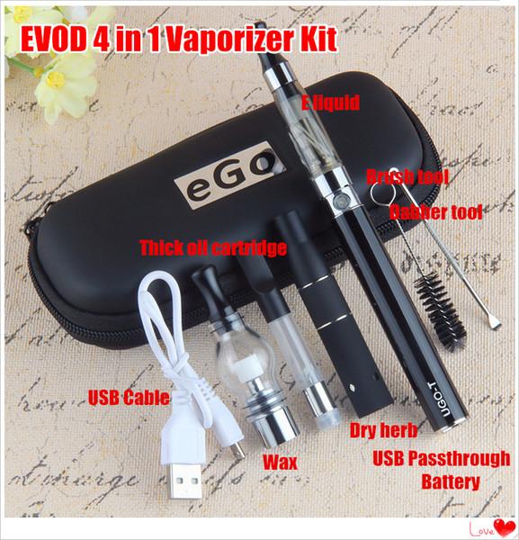 UGO 4 in 1 Vape Kit Multi Atomizers eGo CE4 CE3 vape cartridges Glass Wax Dry Herb vaporizer with 510 Thread Mirco USB Passthrough Battery