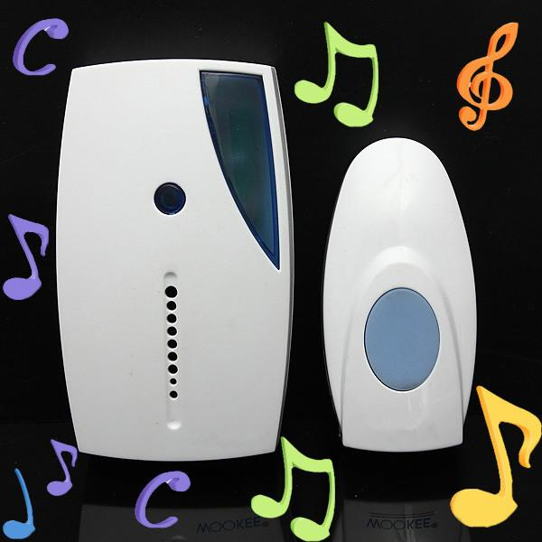 NEW White Portable Mini LED 32 Tune Songs Musical Music Sound Voice Wireless Chime Door Room Gate Bell Doorbell + Remote Control US stock