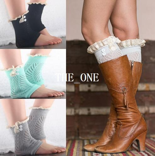 best selling Button Down short leg warmers boot cuffs knit lace shark tank leg warmers boot cuffs boot toppers for women winter warm boot socks in stock