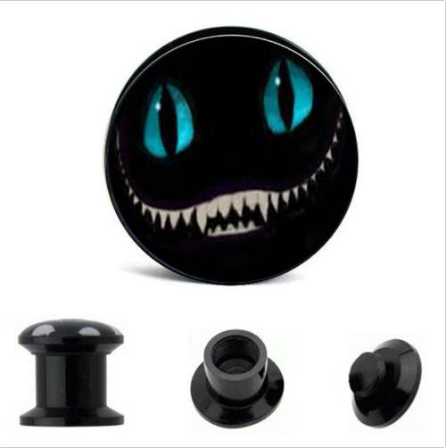 best selling acrylic Cheshire Cat Logo Ear Gauge Plug And Tunnel Ear Stretcher Expander 4mm-16mm Screw Fit Plug Piercing