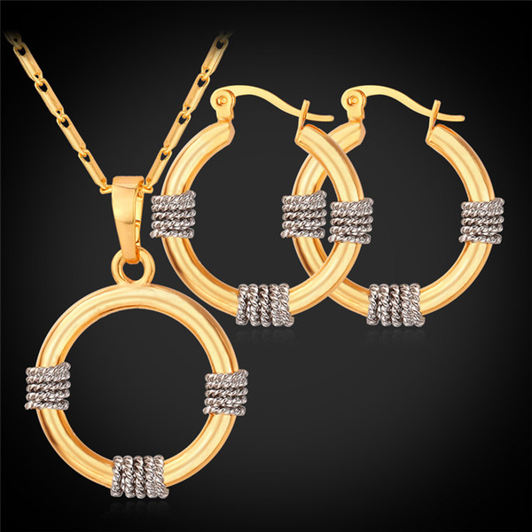 U7 Hoop Earrings Pendant Necklace Set Fashion Gold Plated Jewelry for Women Platinum 18K Real Gold Plated 2 Tone Plated Jewelry Set PE989