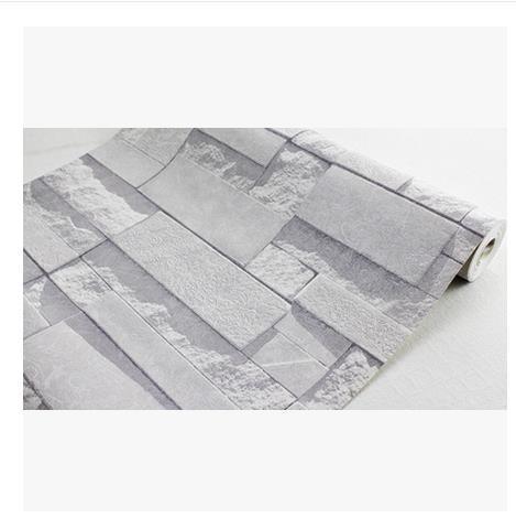 Modern Stacked Brick 3d Stone Wallpaper Roll Grey Brick Wallpaper Wall Background Wallpaper For Living Room Pvc Vinyl Wall Paper High Resolution