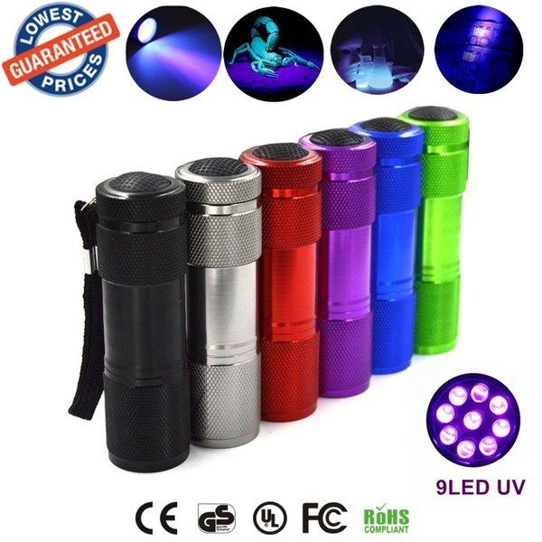 Aluminium Invisible Blacklight Ink Marker 9LED 9 LED UV Ultra Violet Mini Flashlight Torch Light Lamp