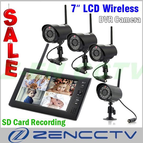 Açık Ev Güvenlik Kamera Sistemi Kablosuz Kaydedici Gece Görüş Video 7 inç Monitör DVR ile 4 Gözetim Kameraları