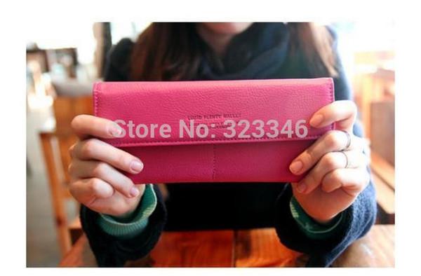 Frauen feste PU Leder Brieftasche langen Clip Bussiness Kreditkarteninhaber Fall carteras feminina billfold freeship
