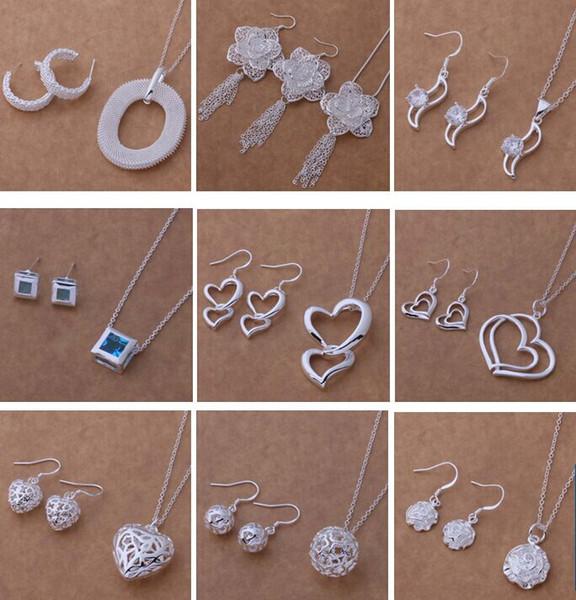 Conjunto de joyería de moda mixta 925 pendientes de collar de plata para que las mujeres envíen regalos a su novia / esposa envío gratis 9 set / lot 1466