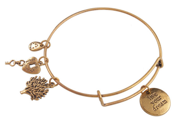 5PCS Fashion bangle bracelets Antiqued Gold Expandable Wire Bangles Karma love various word ect Charm Bracelet