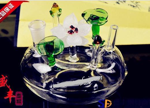 Frete grátis atacado Hookah - Hookah vaso de vidro [camas de flor de lótus, cor de entrega aleatória