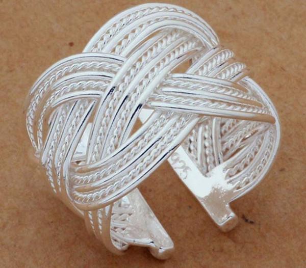 Free Shipping 925 Sterling Silver Ring Fine Fashion Big Net Weaving Silver Jewelry Ring Women&Men Gift Finger Rings 001