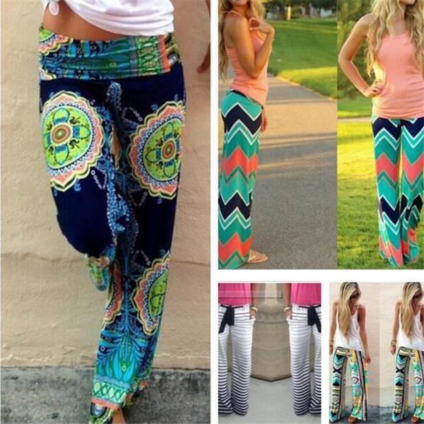 top popular Women Boho Ethnic Pants Bohemian Floral Print Wid Leg Loose Pants Striped Trousers Waves Silky Bottoms M110 2019