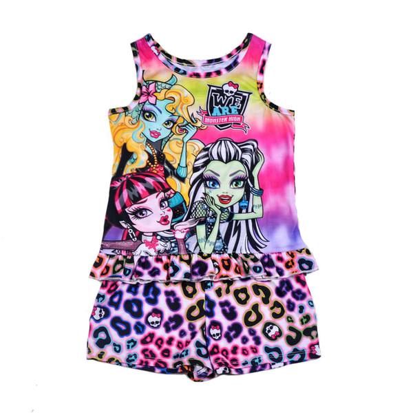 Ropa para niños pijamas monster high sin mangas top tees camiseta + pantalón corto conjunto pijama conjunto pijamas ropa de dormir 5 sets / lote