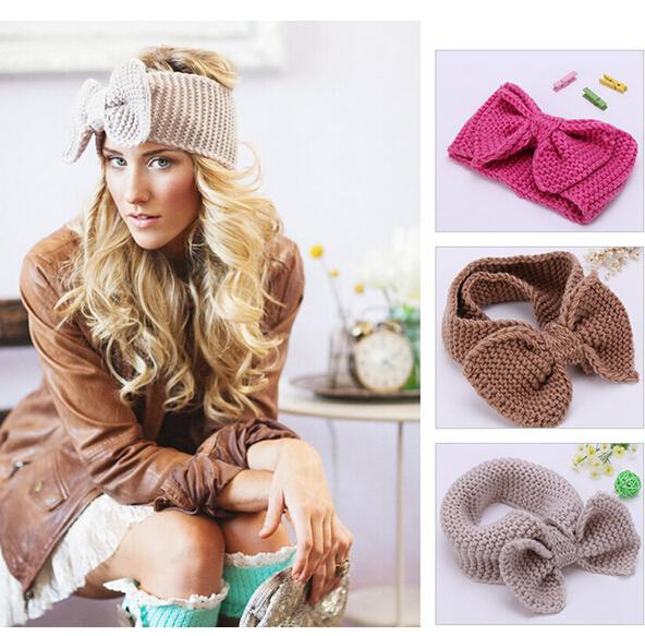 Knit Headband Beanie Ear Warmer Headwrap Turban Bow For Girl 12pcs/lot Free Shipping