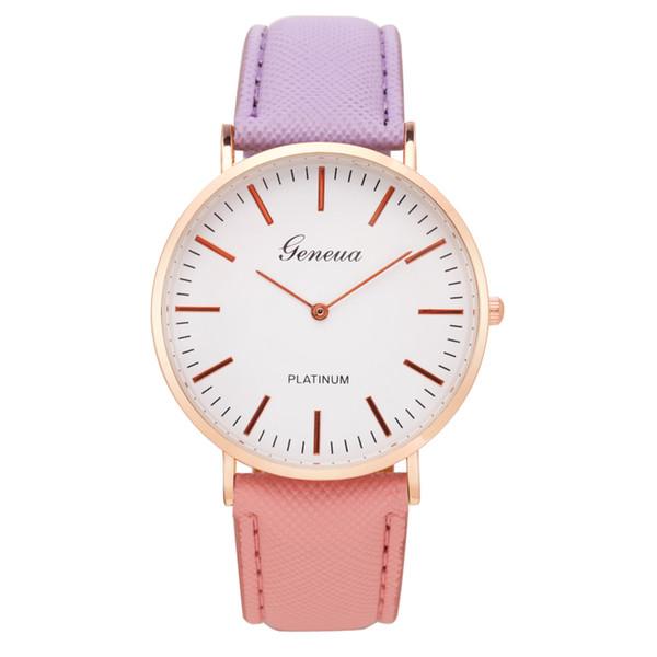 Brand New Fashion Style 6 Farben Weihnachtsgeschenk Bunte Ledergürtel Uhr Quarz Armbanduhr Für Männer Frauen Paar Kinder