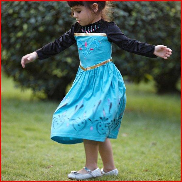 Großhandel Gefrorenes Elsa Kleid Kostüm Langarm Prinzessin Elsa ...