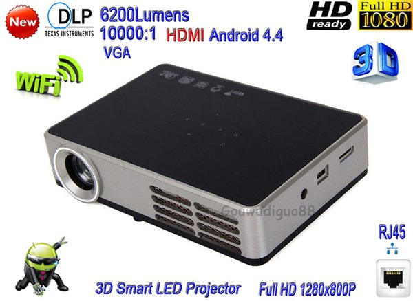 2018 New DLP 6200 Lumens Large Screen WiFi Smart Projector Full HD 1080P 3D Home Theater Multimedia LED Projector HDMI 1G+16G