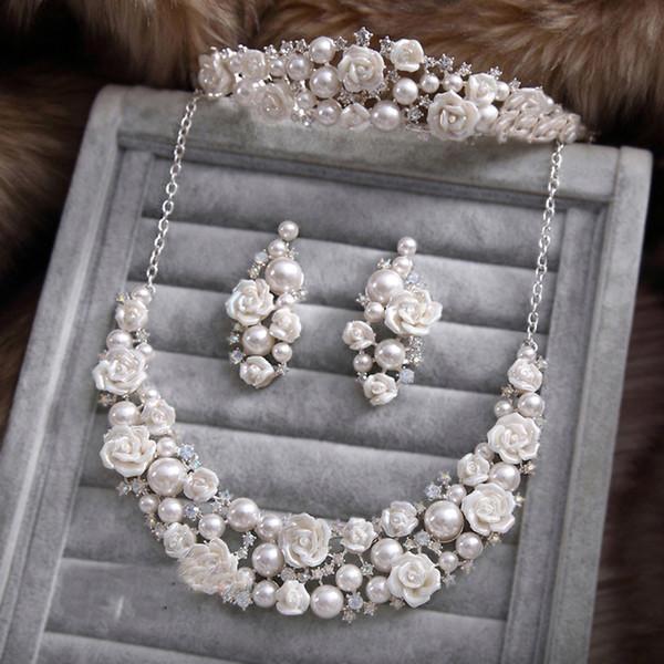 Fashion Wedding Jewelry Sets Imitation Pearl Rose Flower Romantice Style Silver Plated Rhinestone Wedding Accessory