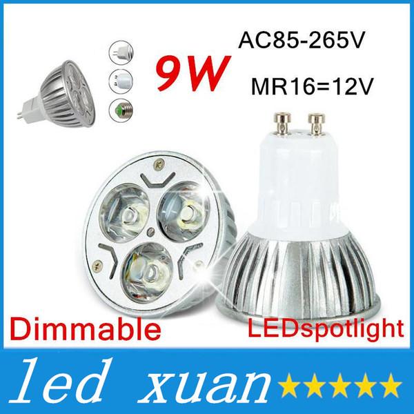 200pcs 9W Dimmable LED Bulb Light GU10/MR16/E27/E14 LED Spotlights CREE LED Lights 3x3W AC 85-265V Energy-saving Bulb Led Light Bulb