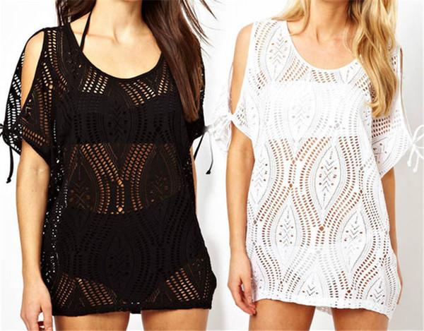 New Women's Sexy Bathing Suit Hollow Strap Off Shoulder Crochet Beach Swimwear Bikini Cover-Ups Dress Black/White 10Pcs/Lot Free Shipping