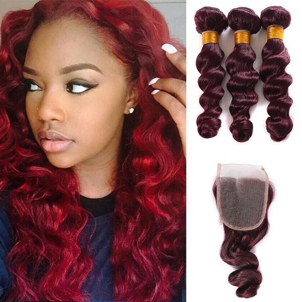 Brazilian Loose Wave Virgin Hair Burgundy 3 Bundles With 4x4 Lace Closure Wine Red #99j Human Hair With Closure 4Pcs Lot Burgundy Hair