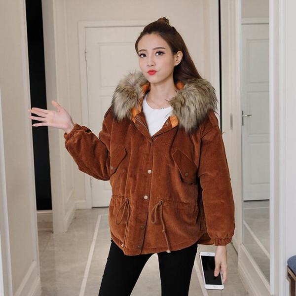 Großhandel Jacke Kragen Kleidung Lose Mantel New Baumwolle Lässig Cord Schweres Frauen Tether Hem Winter Warmen Haar Mit Kapuze Lqj534AR