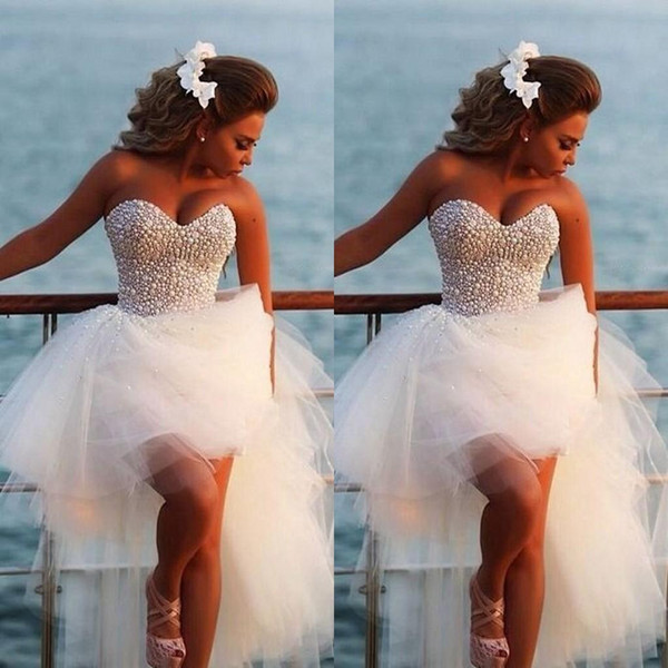 Venta caliente Bohemian Sweetheart Diamonds High Low Tulle Wedding Dresses Perlas encantadoras Vestidos de novia de la playa Envío libre por encargo BO6740