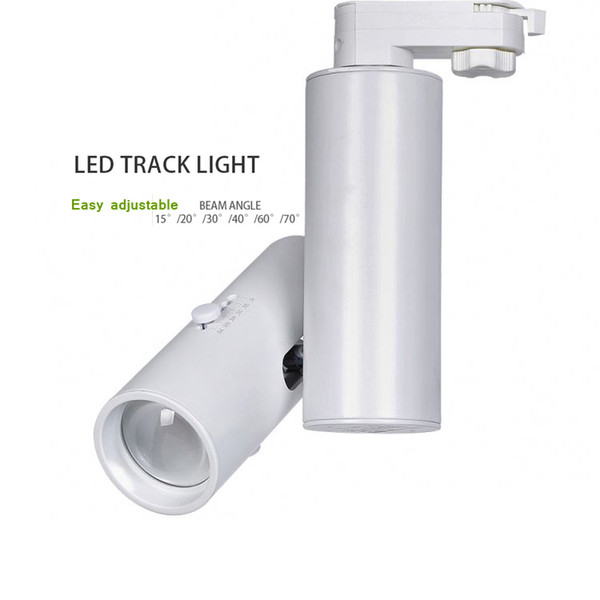 Zoom in Zoom out 10W 15W 20W Adjustable Beam Angle 15 20 30 60 70 Varifocal LED Spot Track Light Europe Adapter