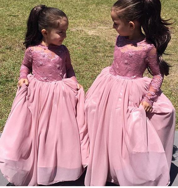 2019 belles robes de filles en dentelle bijou sans manches à manches longues décolleté élevé robes de filles robes de soirée longueur plancher de sol enfants