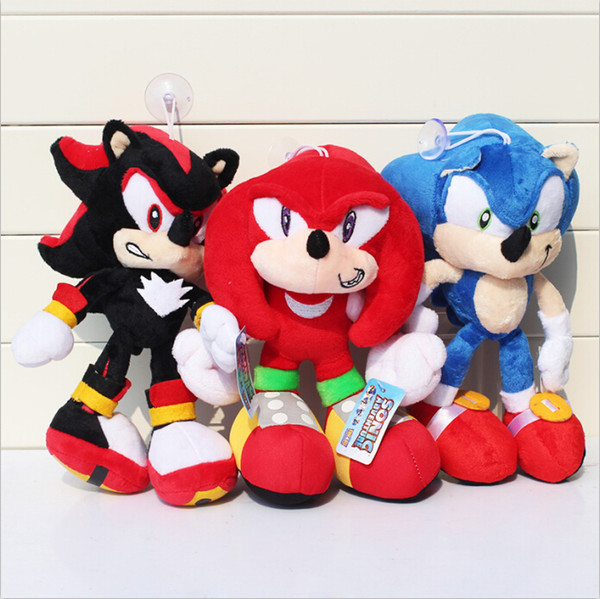 "free shipping Sonic The Hedgehog Plush Toy Doll Key Chain 10"" Blue Black and Red high quallity"