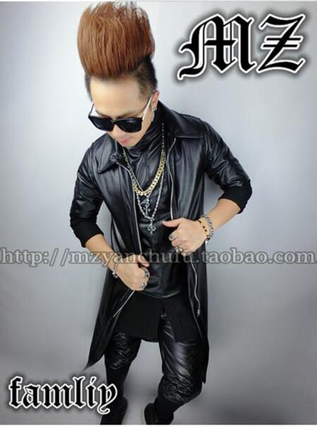 Masculino cantor boate na moda na Europa e na pista parece sem mangas longas casaco preto poeira casaco de couro trajes. S - 6 xl