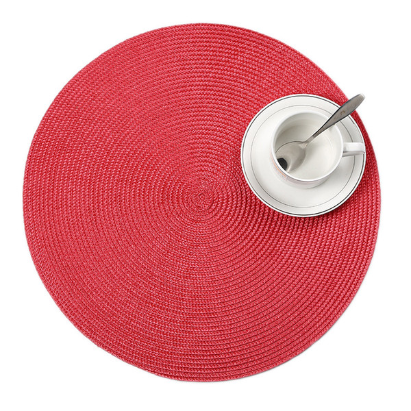 Wholesale- 4 Pcs/set Round Weave Placemat Fashion PP Dining Table Mat Disc Pads Bowl Pad Coasters Waterproof Table Cloth Pad 38cm Diameter