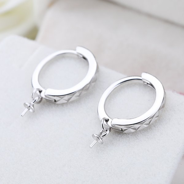 Fine Silver Sterling Silver 925 White Gold Color 6-12mm Pearl or Round Bead Hoop Earrings Semi Mount DIY Stone Setting
