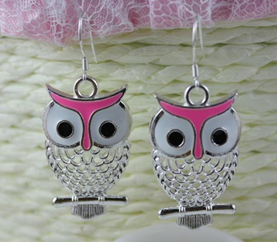 Plated Silver Earrings Pink Enamel Owl Charms 925 Sterling Silver Dangle Earrings For Women Dress Brand DIY Jewelry 30Pair N1455