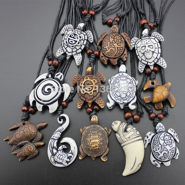 Hot Selling 12pcs Imitation Yak Bone Carving Lucky Surfing Turtles Pendant Adjustable Cord Necklace Amulet Gift MN329
